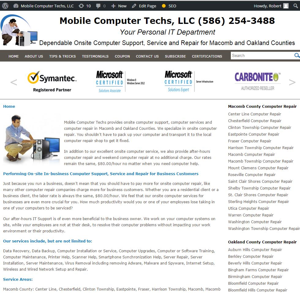 screen shot of Mobile Computer Repair