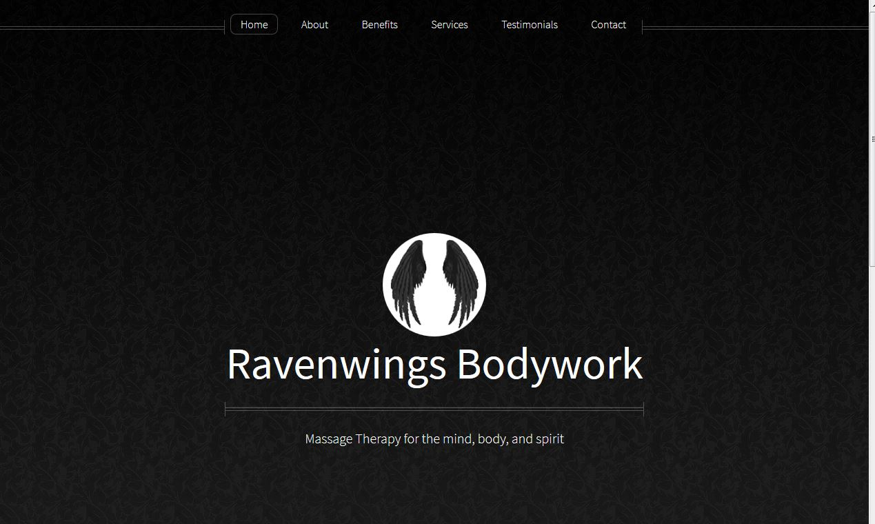 screen shot of Ravenwings Bodyworks site